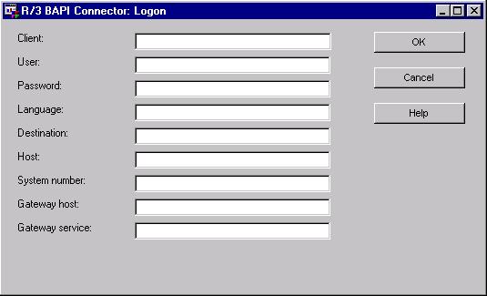SAS Help Center: Using the R/3 BAPI Connector: Logon Window
