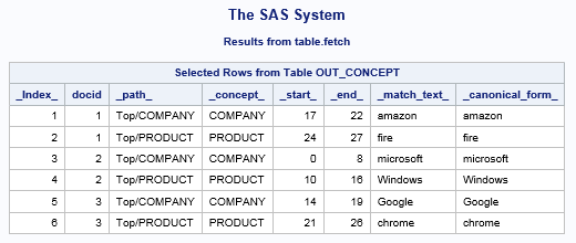 SAS® Help Center: Generate Concept Matches Using the applyConcept Action
